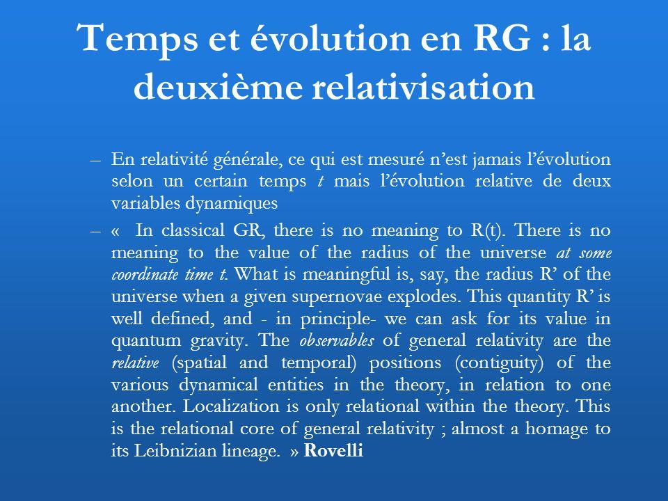 Temps et évolution en RG : la deuxième relativisation –En relativité générale, ce qui est mesuré nest jamais lévolution selon un certain temps t mais