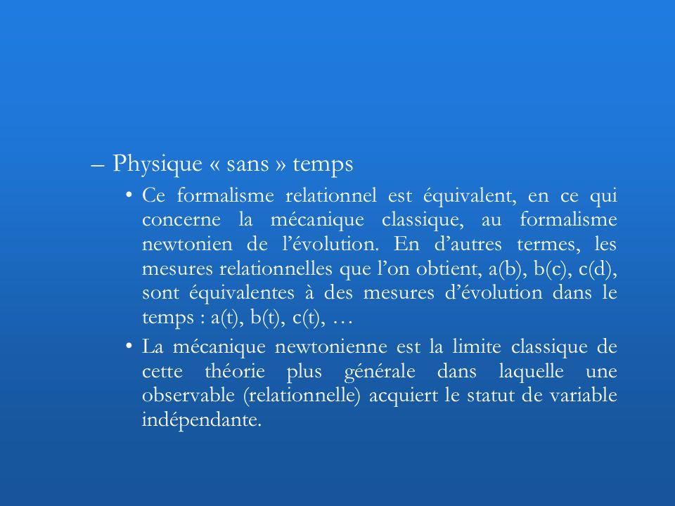 –Physique « sans » temps Ce formalisme relationnel est équivalent, en ce qui concerne la mécanique classique, au formalisme newtonien de lévolution. E