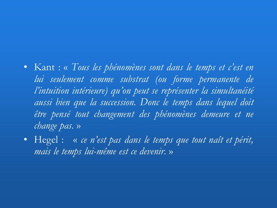 Kant : « Tous les phénomènes sont dans le temps et cest en lui seulement comme substrat (ou forme permanente de lintuition intérieure) quon peut se re