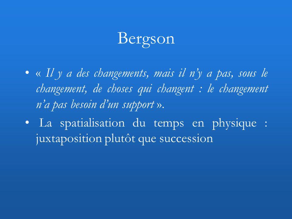 Bergson « Il y a des changements, mais il ny a pas, sous le changement, de choses qui changent : le changement na pas besoin dun support ». La spatial