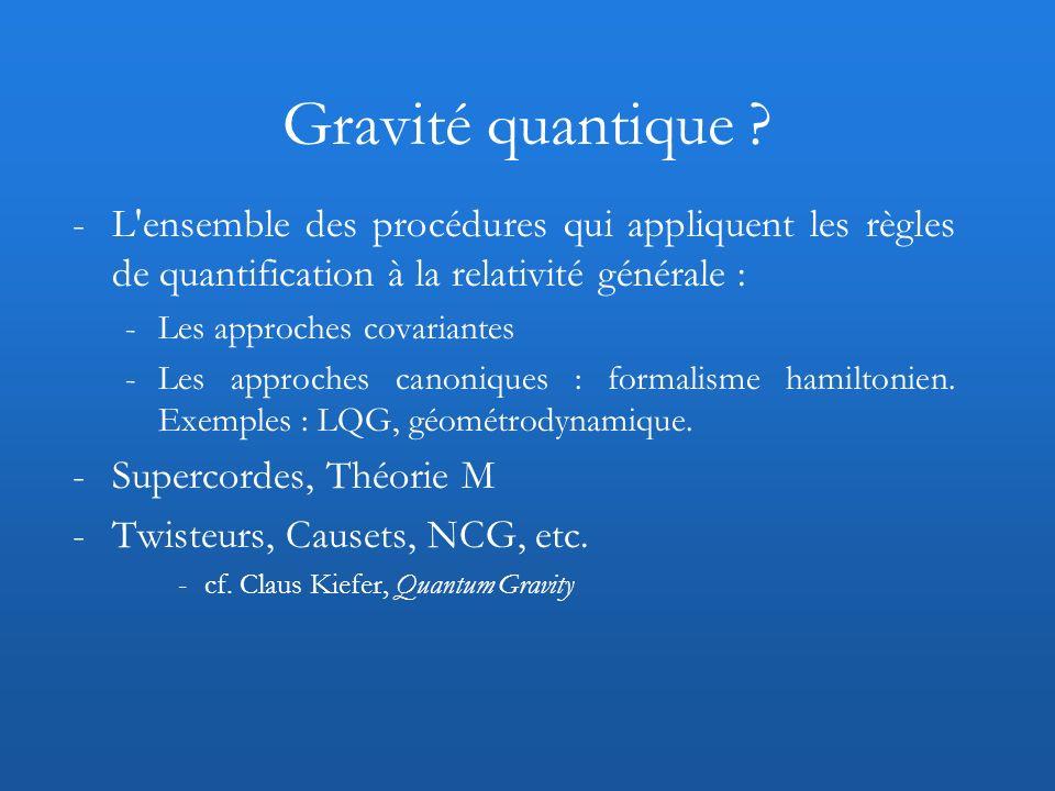 -L'ensemble des procédures qui appliquent les règles de quantification à la relativité générale : -Les approches covariantes -Les approches canoniques