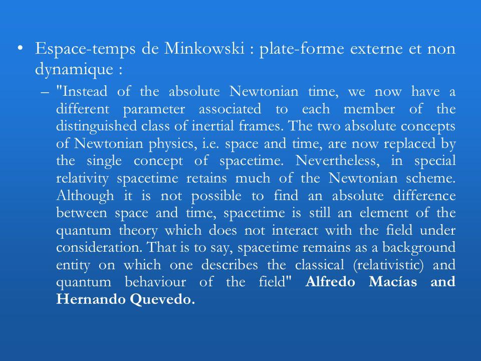 Espace-temps de Minkowski : plate-forme externe et non dynamique : –
