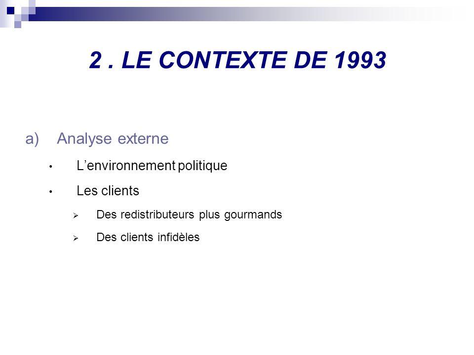 2. LE CONTEXTE DE 1993 a)Analyse externe Lenvironnement politique Les clients Des redistributeurs plus gourmands Des clients infidèles
