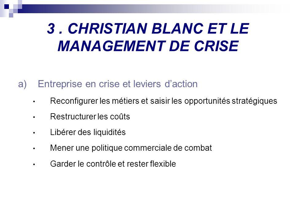 3. CHRISTIAN BLANC ET LE MANAGEMENT DE CRISE a)Entreprise en crise et leviers daction Reconfigurer les métiers et saisir les opportunités stratégiques