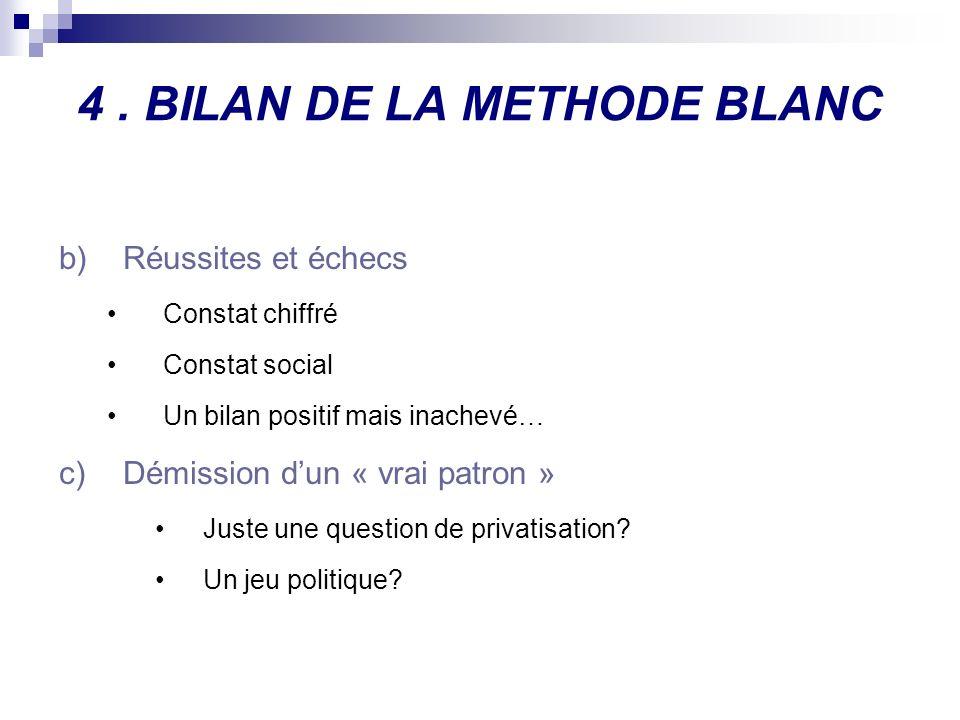 4. BILAN DE LA METHODE BLANC b)Réussites et échecs Constat chiffré Constat social Un bilan positif mais inachevé… c)Démission dun « vrai patron » Just