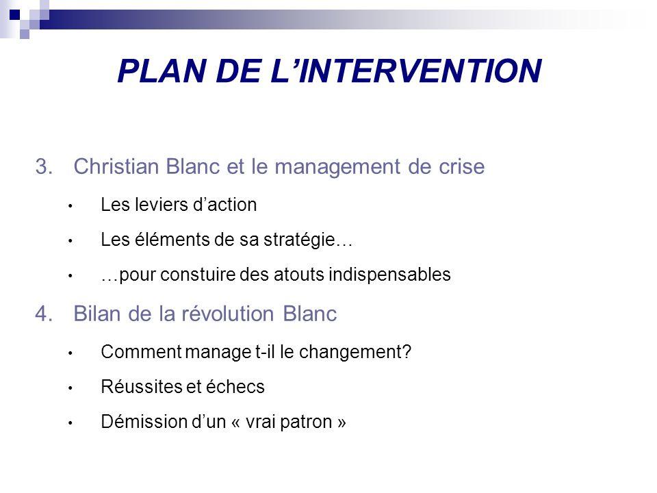 PLAN DE LINTERVENTION 3.Christian Blanc et le management de crise Les leviers daction Les éléments de sa stratégie… …pour constuire des atouts indispe