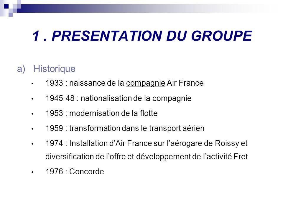 1. PRESENTATION DU GROUPE a)Historique 1933 : naissance de la compagnie Air France 1945-48 : nationalisation de la compagnie 1953 : modernisation de l