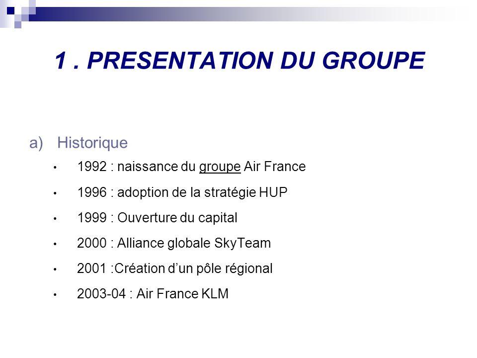 1. PRESENTATION DU GROUPE a)Historique 1992 : naissance du groupe Air France 1996 : adoption de la stratégie HUP 1999 : Ouverture du capital 2000 : Al