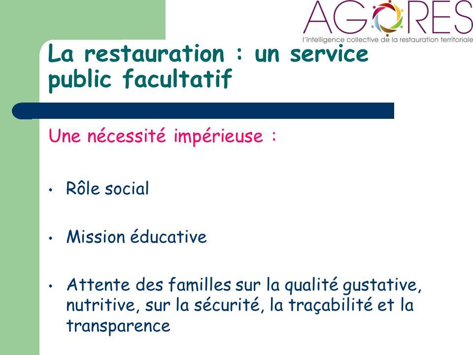 La restauration : un service public facultatif Une nécessité impérieuse : Rôle social Mission éducative Attente des familles sur la qualité gustative, nutritive, sur la sécurité, la traçabilité et la transparence
