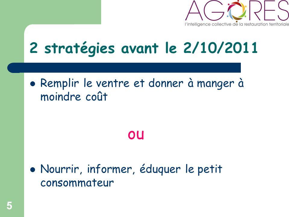 2 stratégies avant le 2/10/2011 Remplir le ventre et donner à manger à moindre coût ou Nourrir, informer, éduquer le petit consommateur 5