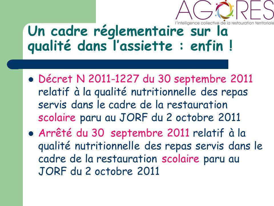 Un cadre réglementaire sur la qualité dans lassiette : enfin .