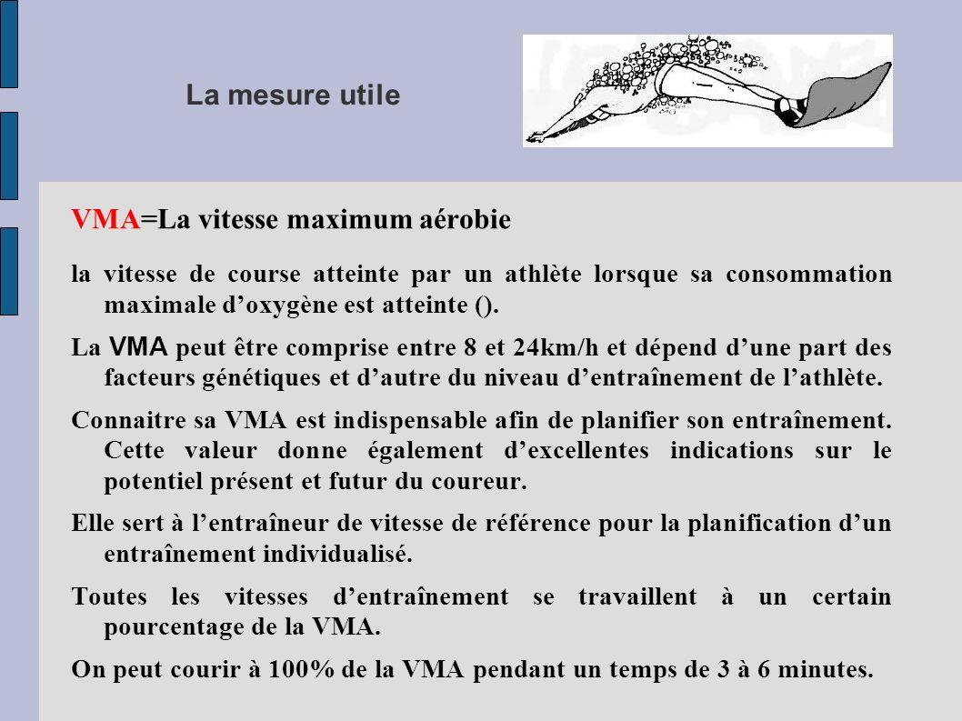 La mesure utile VMA=La vitesse maximum aérobie la vitesse de course atteinte par un athlète lorsque sa consommation maximale doxygène est atteinte ().