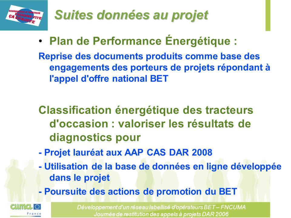 Développement d un réseau labellisé d opérateurs BET – FNCUMA Journée de restitution des appels à projets DAR 2006 Suites données au projet Plan de Performance Énergétique : Reprise des documents produits comme base des engagements des porteurs de projets répondant à l appel d offre national BET Classification énergétique des tracteurs d occasion : valoriser les résultats de diagnostics pour - Projet lauréat aux AAP CAS DAR 2008 - Utilisation de la base de données en ligne développée dans le projet - Poursuite des actions de promotion du BET
