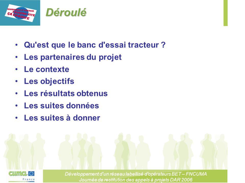 Développement d un réseau labellisé d opérateurs BET – FNCUMA Journée de restitution des appels à projets DAR 2006 Déroulé Qu est que le banc d essai tracteur .
