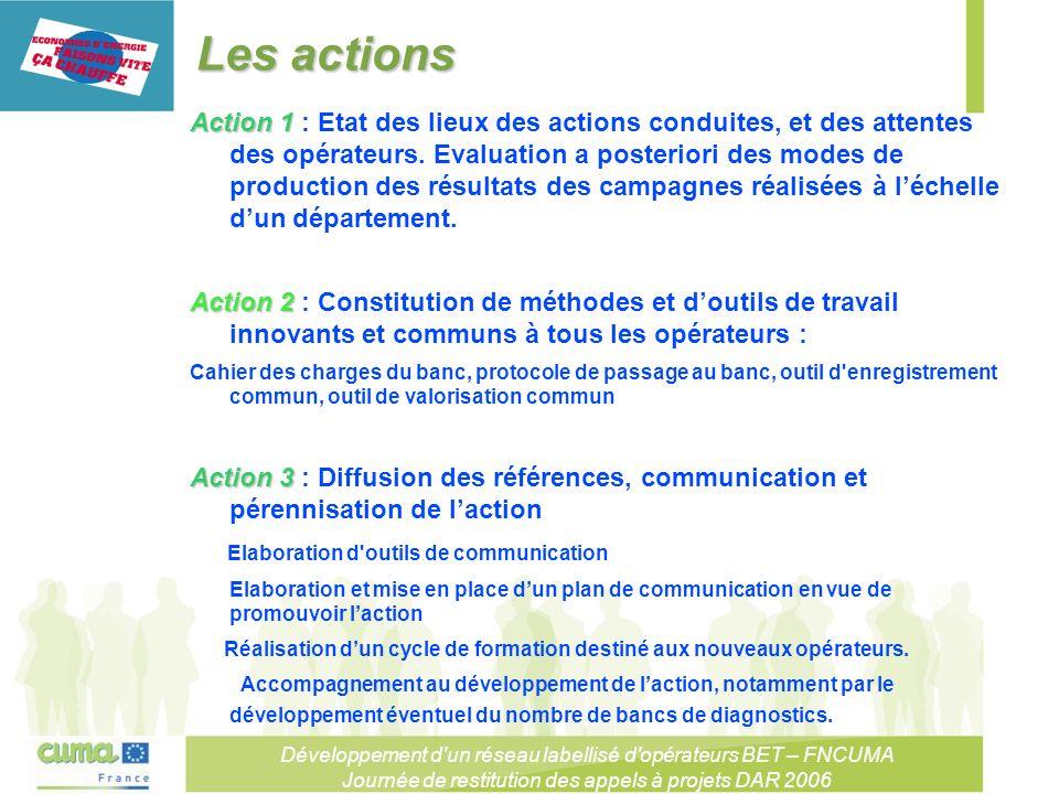Développement d un réseau labellisé d opérateurs BET – FNCUMA Journée de restitution des appels à projets DAR 2006 Les actions Action 1 Action 1 : Etat des lieux des actions conduites, et des attentes des opérateurs.