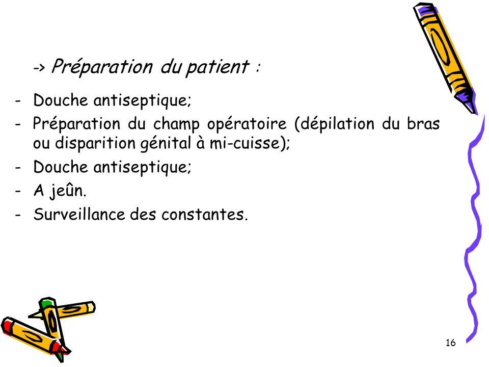 16 -> Préparation du patient : -Douche antiseptique; -Préparation du champ opératoire (dépilation du bras ou disparition génital à mi-cuisse); -Douche antiseptique; -A jeûn.