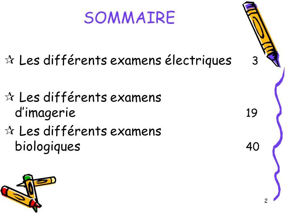 2 SOMMAIRE Les différents examens électriques 3 Les différents examens dimagerie 19 Les différents examens biologiques 40