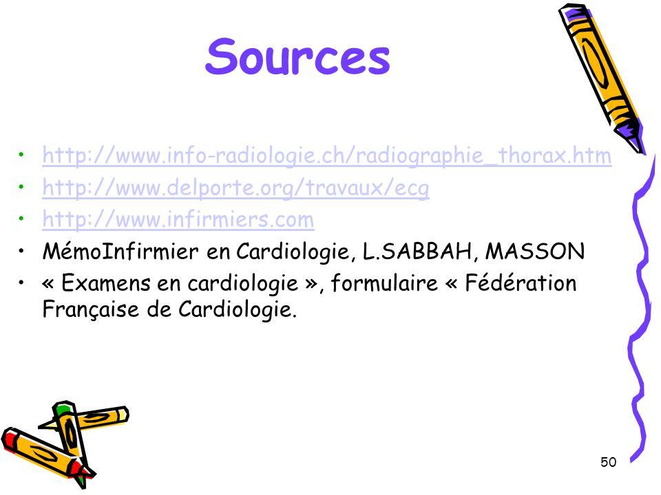 50 Sources http://www.info-radiologie.ch/radiographie_thorax.htm http://www.delporte.org/travaux/ecg http://www.infirmiers.com MémoInfirmier en Cardiologie, L.SABBAH, MASSON « Examens en cardiologie », formulaire « Fédération Française de Cardiologie.