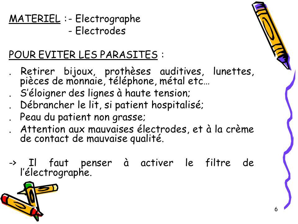 6 MATERIEL :- Electrographe - Electrodes POUR EVITER LES PARASITES :.