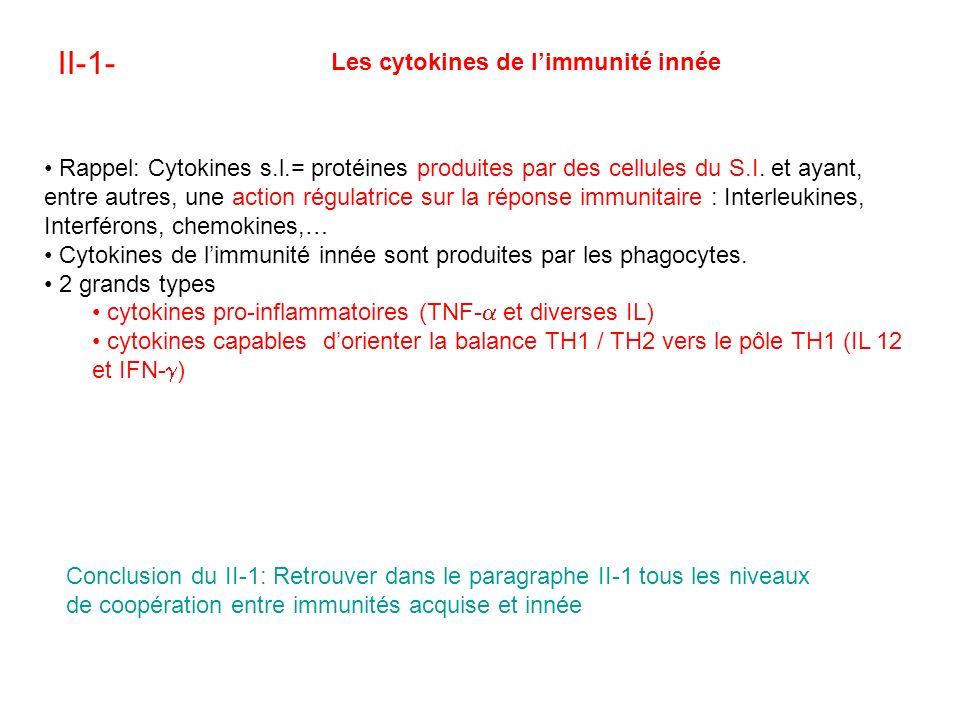 II-1- Les cytokines de limmunité innée Rappel: Cytokines s.l.= protéines produites par des cellules du S.I.