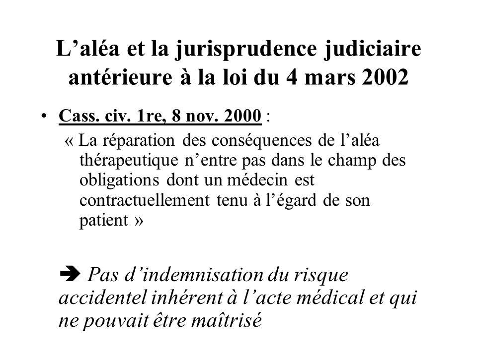 Laléa et la jurisprudence judiciaire antérieure à la loi du 4 mars 2002 Cass. civ. 1re, 8 nov. 2000 : « La réparation des conséquences de laléa thérap