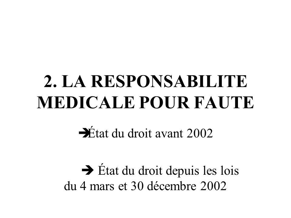 2. LA RESPONSABILITE MEDICALE POUR FAUTE État du droit avant 2002 État du droit depuis les lois du 4 mars et 30 décembre 2002