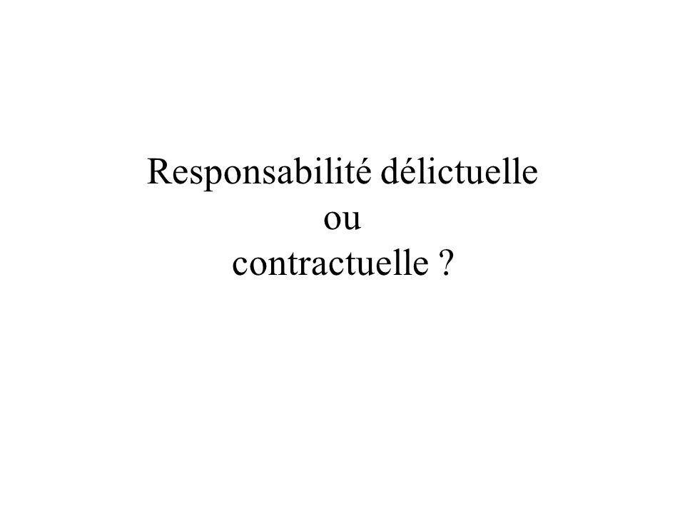 Responsabilité délictuelle ou contractuelle ?