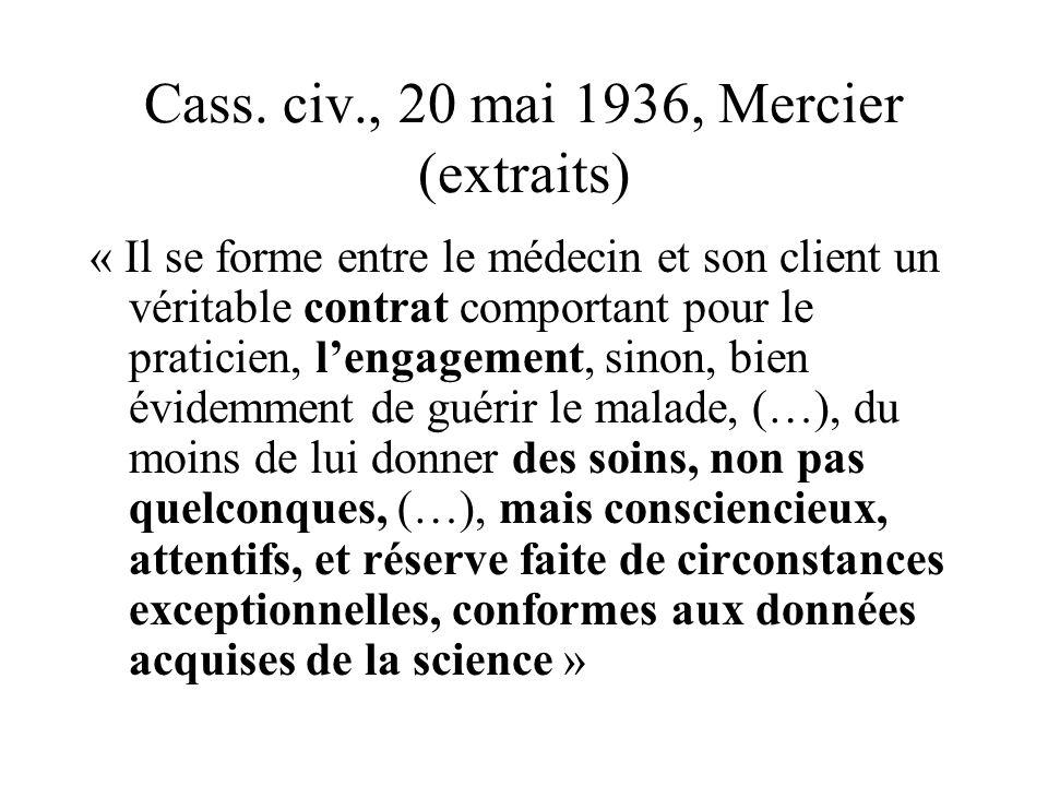 Cass. civ., 20 mai 1936, Mercier (extraits) « Il se forme entre le médecin et son client un véritable contrat comportant pour le praticien, lengagemen
