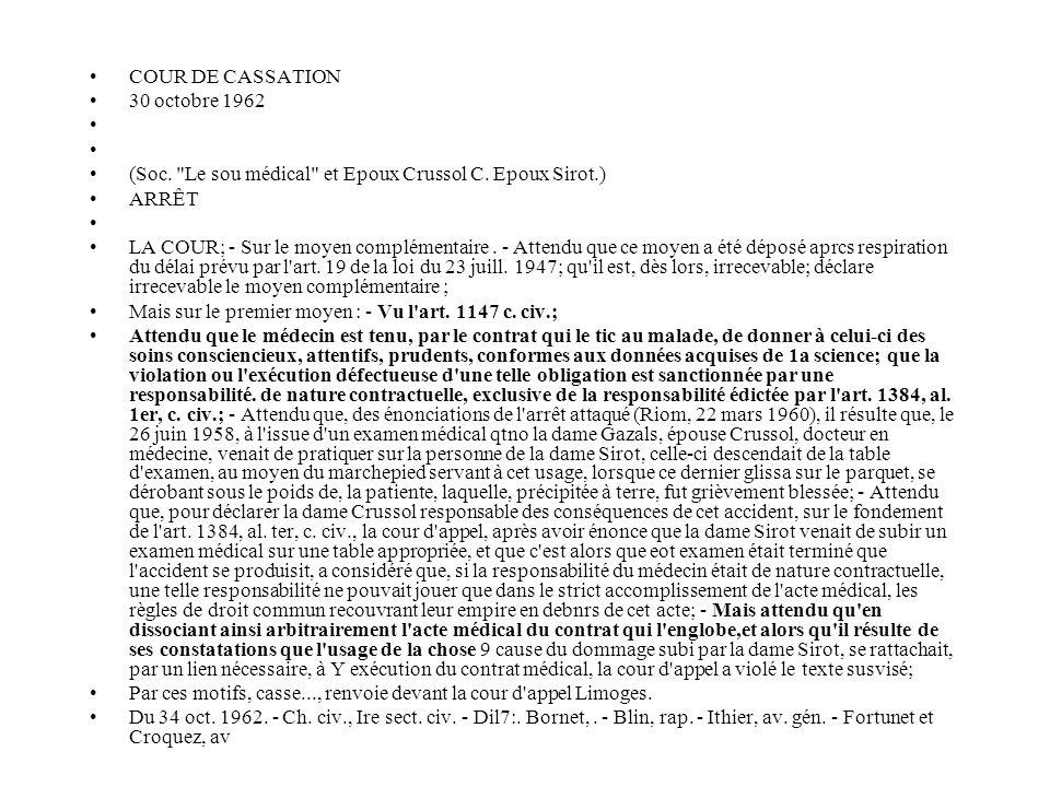 COUR DE CASSATION 30 octobre 1962 (Soc.