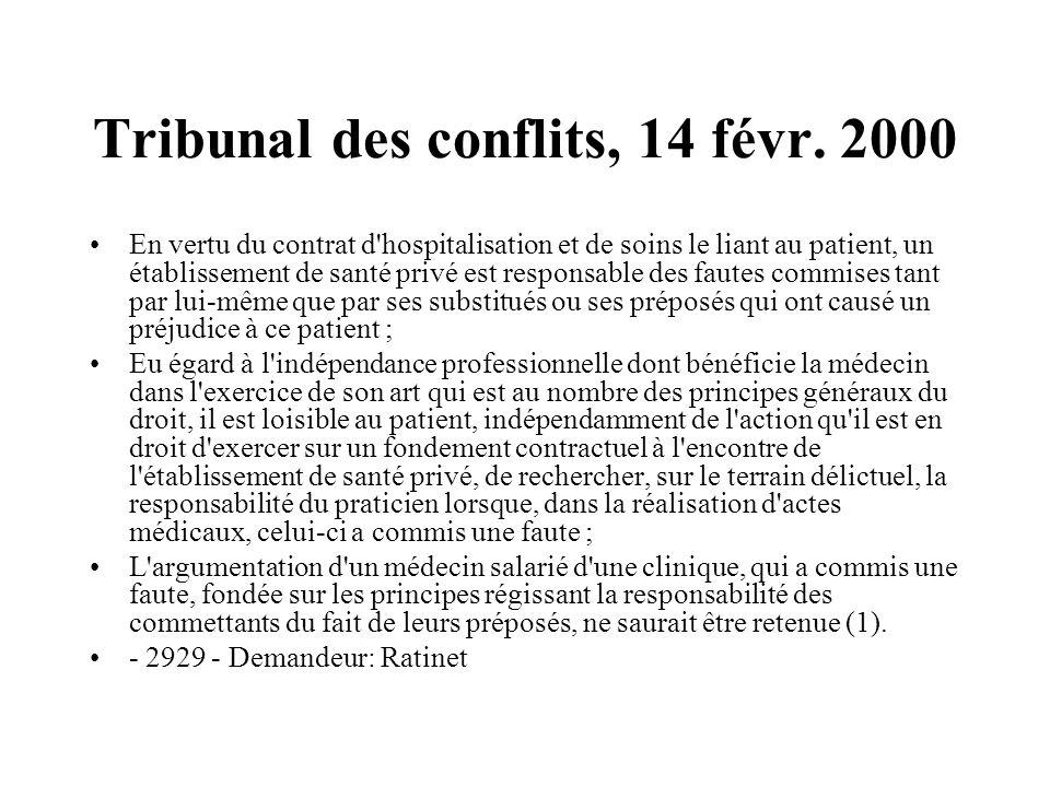 Tribunal des conflits, 14 févr. 2000 En vertu du contrat d'hospitalisation et de soins le liant au patient, un établissement de santé privé est respon