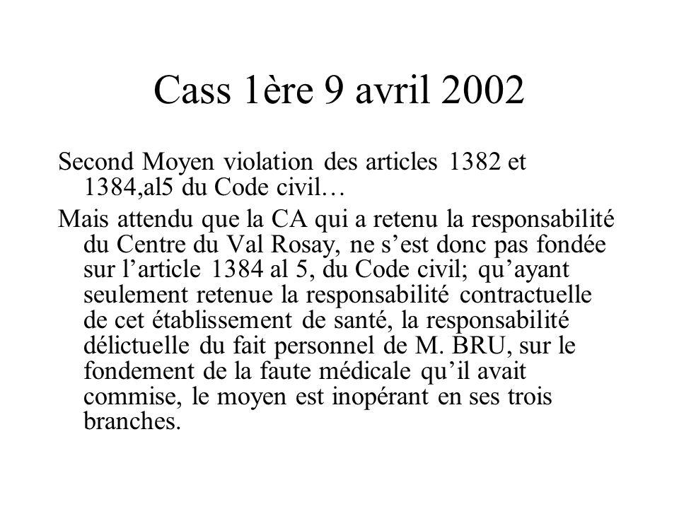 Cass 1ère 9 avril 2002 Second Moyen violation des articles 1382 et 1384,al5 du Code civil… Mais attendu que la CA qui a retenu la responsabilité du Ce
