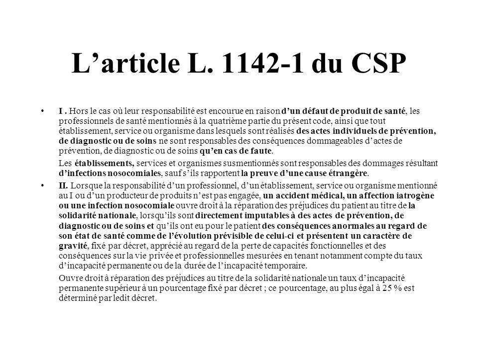 Larticle L. 1142-1 du CSP I. Hors le cas où leur responsabilité est encourue en raison dun défaut de produit de santé, les professionnels de santé men