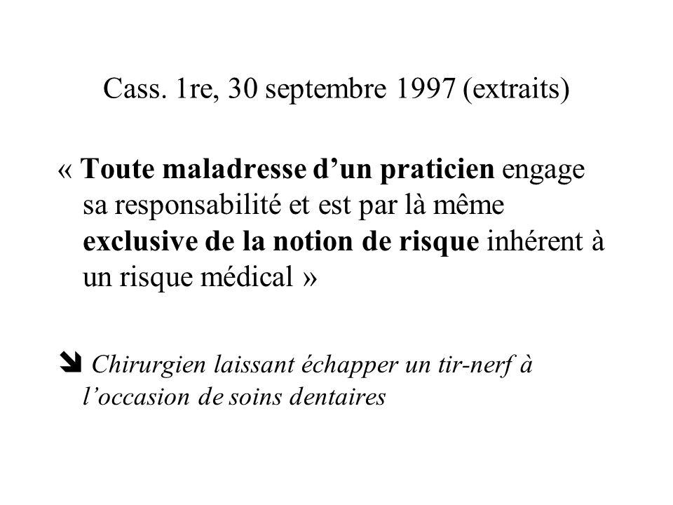 Cass. 1re, 30 septembre 1997 (extraits) « Toute maladresse dun praticien engage sa responsabilité et est par là même exclusive de la notion de risque