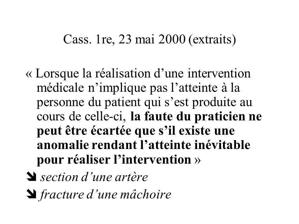 Cass. 1re, 23 mai 2000 (extraits) « Lorsque la réalisation dune intervention médicale nimplique pas latteinte à la personne du patient qui sest produi