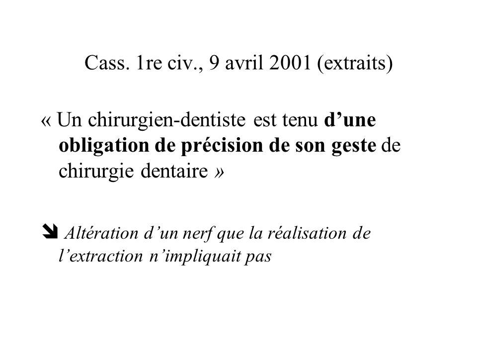 Cass. 1re civ., 9 avril 2001 (extraits) « Un chirurgien-dentiste est tenu dune obligation de précision de son geste de chirurgie dentaire » Altération