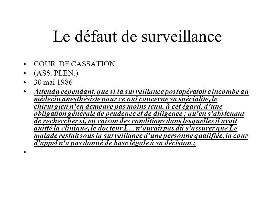 Le défaut de surveillance COUR. DE CASSATION (ASS. PLEN.) 30 mai 1986 Attendu cependant, que si la surveillance postopératoire incombe au médecin anes
