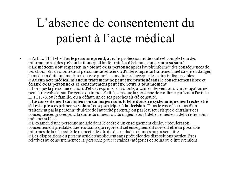Labsence de consentement du patient à lacte médical « Art. L. 1111-4. - Toute personne prend, avec le professionnel de santé et compte tenu des inform