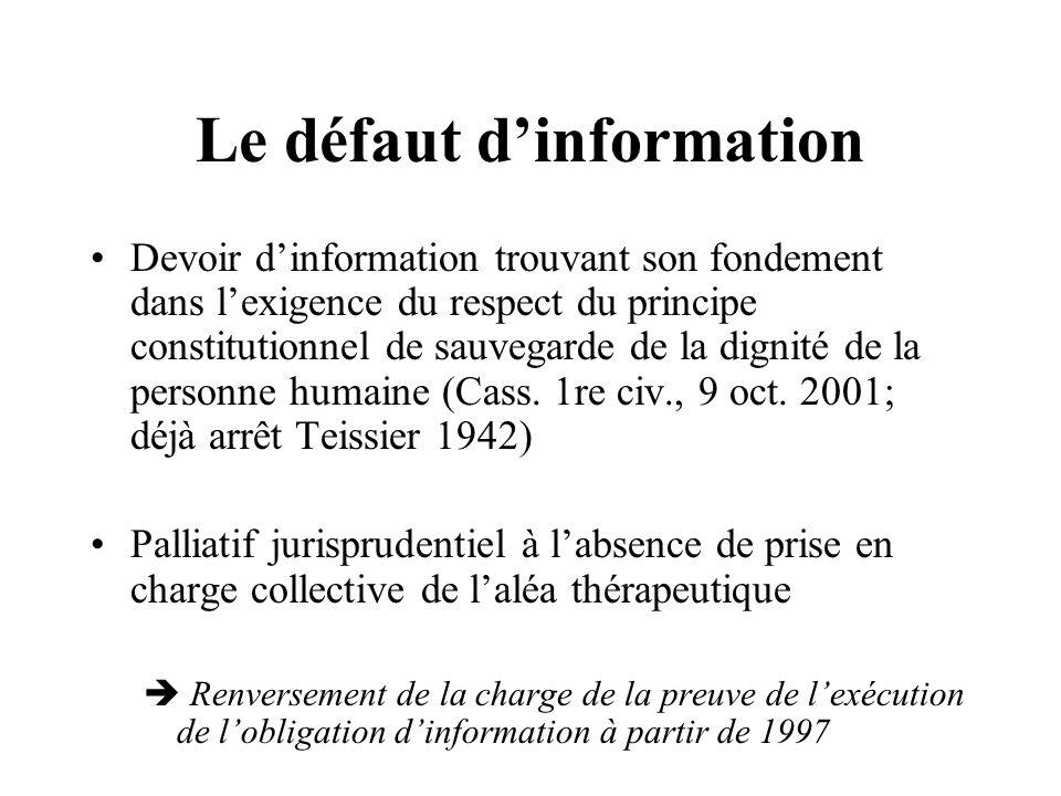 Le défaut dinformation Cass.civ., 29 mai 1951 ; consorts Martin c/ Birot).