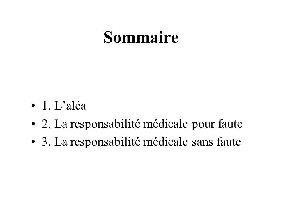 Sommaire 1. Laléa 2. La responsabilité médicale pour faute 3. La responsabilité médicale sans faute