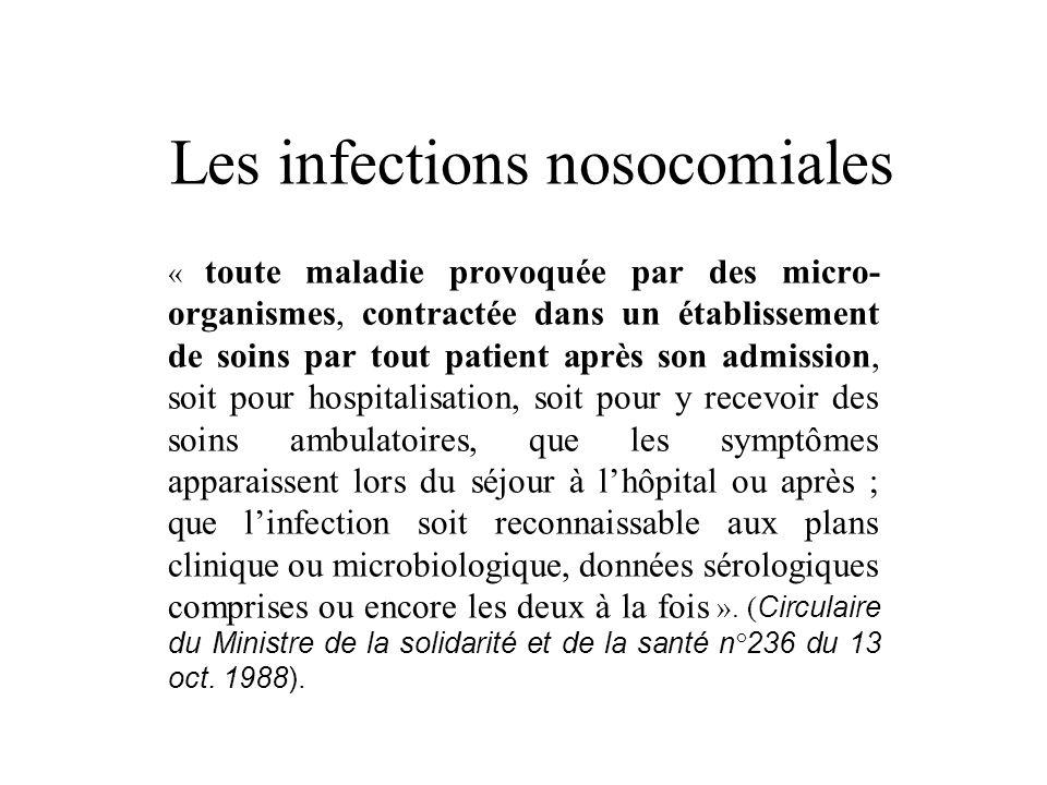 Les infections nosocomiales « toute maladie provoquée par des micro- organismes, contractée dans un établissement de soins par tout patient après son