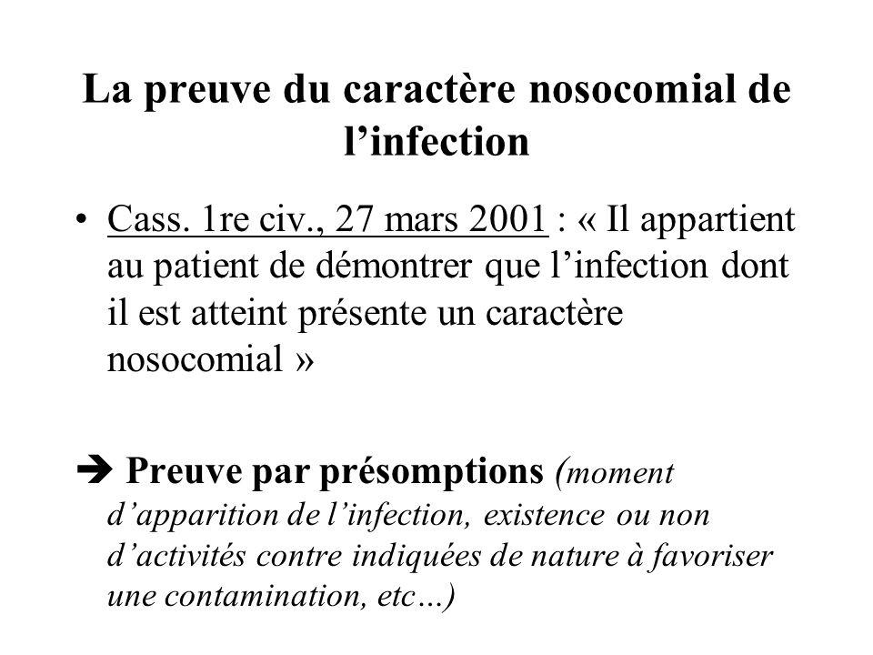 La preuve du caractère nosocomial de linfection Cass. 1re civ., 27 mars 2001 : « Il appartient au patient de démontrer que linfection dont il est atte