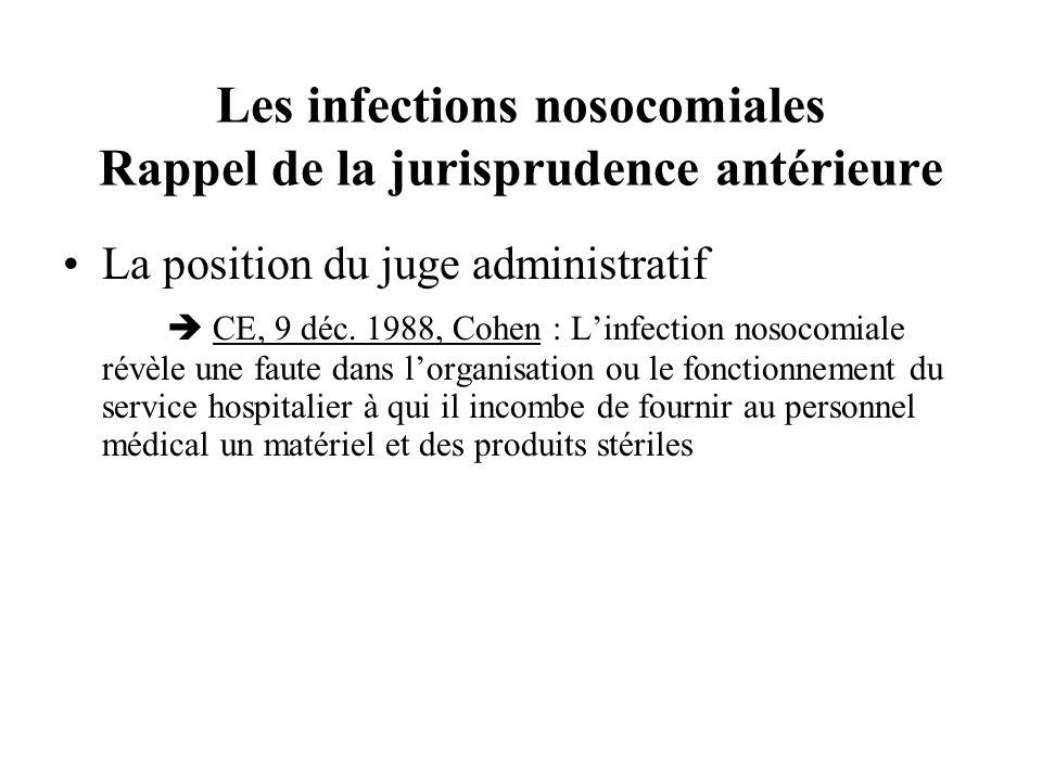 Les infections nosocomiales Rappel de la jurisprudence antérieure La position du juge administratif CE, 9 déc. 1988, Cohen : Linfection nosocomiale ré