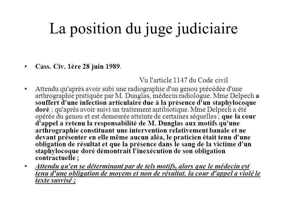 La position du juge judiciaire Cass. Civ. 1ère 28 juin 1989. Vu l'article 1147 du Code civil Attendu qu'après avoir subi une radiographie d'un genou p