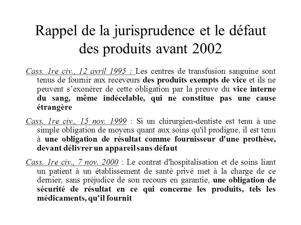 Rappel de la jurisprudence et le défaut des produits avant 2002 Cass. 1re civ., 12 avril 1995 : Les centres de transfusion sanguine sont tenus de four