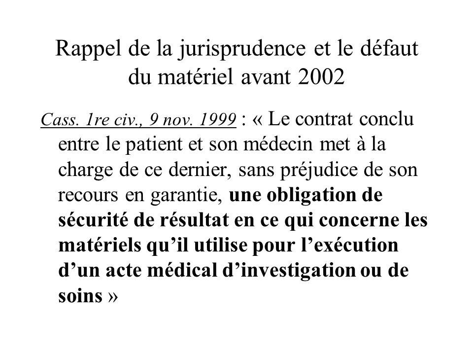Rappel de la jurisprudence et le défaut du matériel avant 2002 Cass. 1re civ., 9 nov. 1999 : « Le contrat conclu entre le patient et son médecin met à