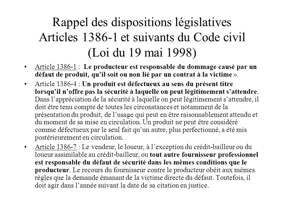Rappel des dispositions législatives Articles 1386-1 et suivants du Code civil (Loi du 19 mai 1998) Article 1386-1 : Le producteur est responsable du
