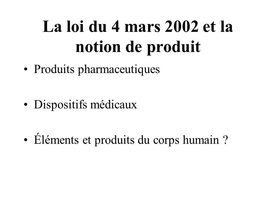La loi du 4 mars 2002 et la notion de produit Produits pharmaceutiques Dispositifs médicaux Éléments et produits du corps humain ?