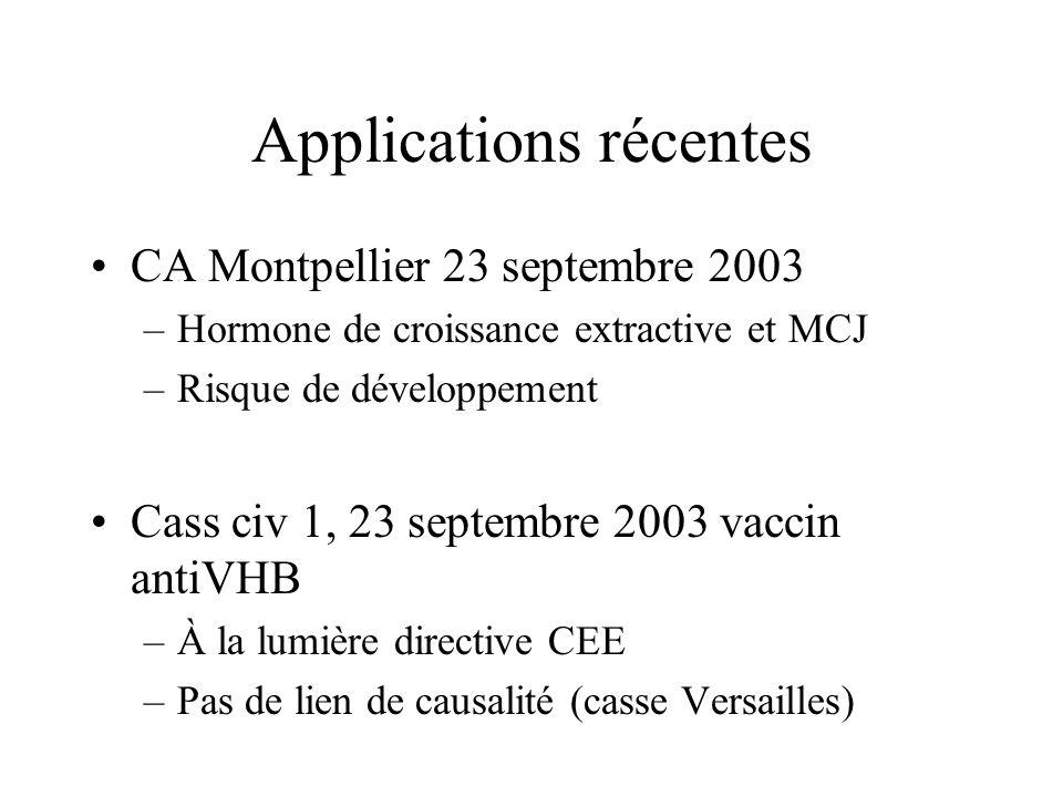 Applications récentes CA Montpellier 23 septembre 2003 –Hormone de croissance extractive et MCJ –Risque de développement Cass civ 1, 23 septembre 2003