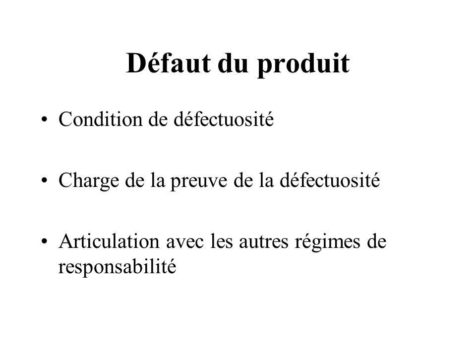 Défaut du produit Condition de défectuosité Charge de la preuve de la défectuosité Articulation avec les autres régimes de responsabilité