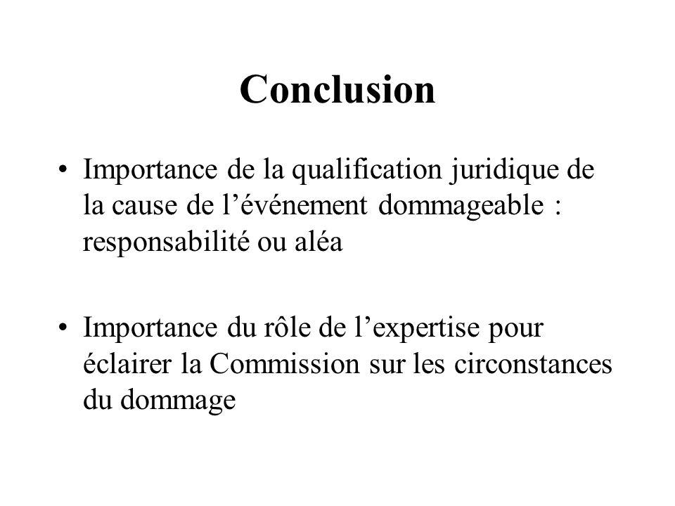 Conclusion Importance de la qualification juridique de la cause de lévénement dommageable : responsabilité ou aléa Importance du rôle de lexpertise po